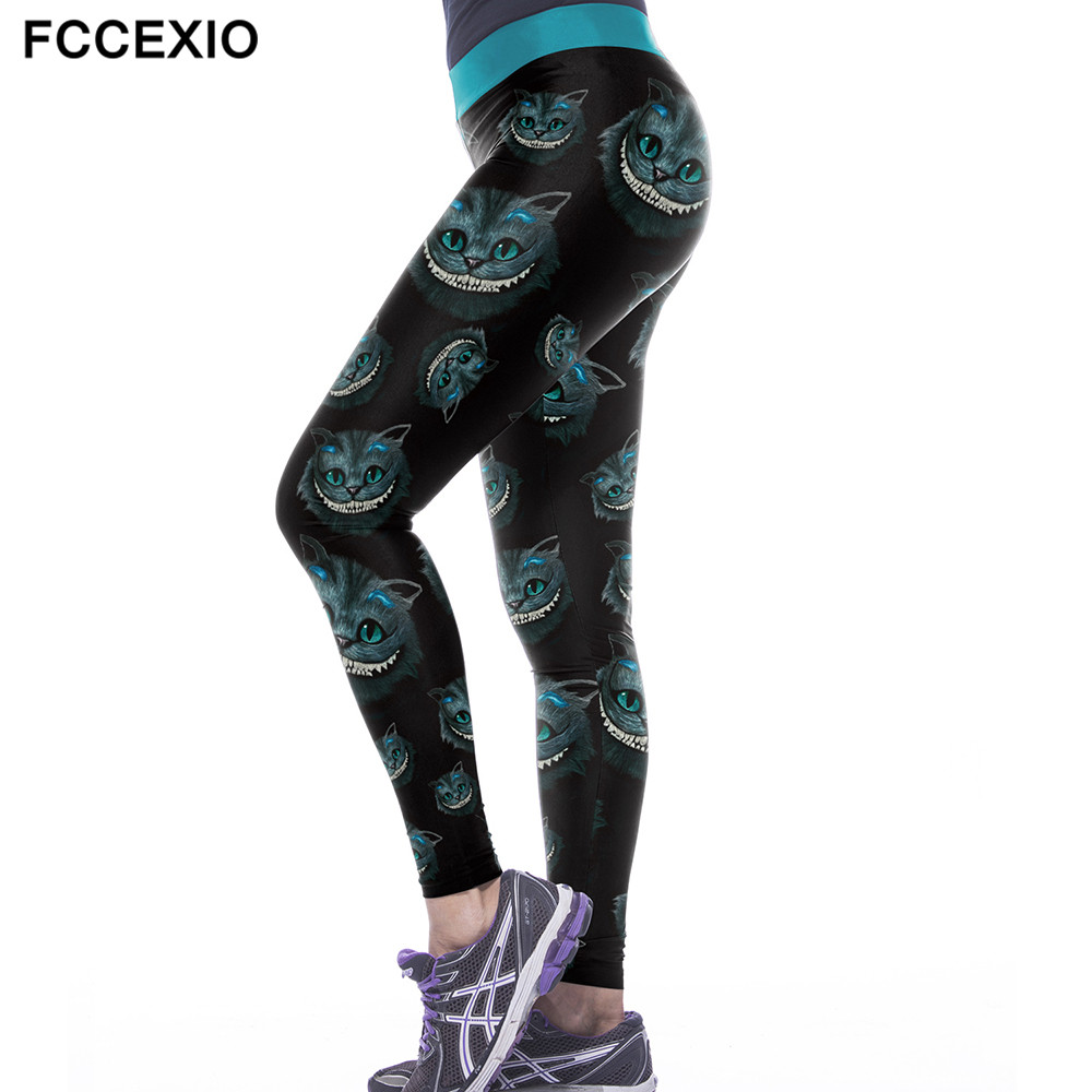 FCCEXIO 2019 New Women's Workout   Leggings   Cheshire Cat Print 3d Legins High Elastic Waist Slim Fitness Plus Size   Leggings