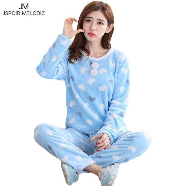 lovely winter pajama women flannel animal pajama sets female
