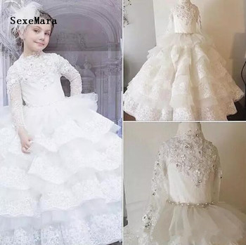 Ivory White Lace Beaded Flower Girl Dresses Layered Ball Gown Pageant Gown Beautiful Princess Birthday Dresses Christmas Dress