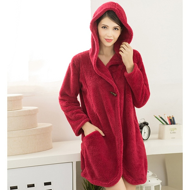 Women Coral Fleece Hooded Bathrobe Winter Autumn Loungewear Female Long Sleeve Warm Casual Solid Mini Robe Soft Comfy Sleepwear