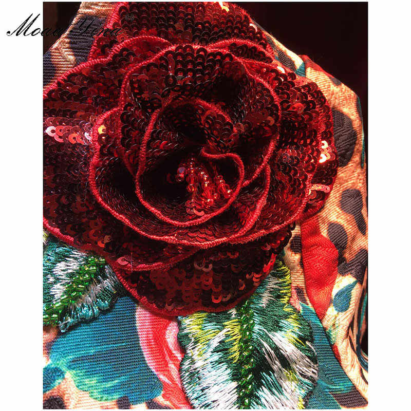 MoaaYina сексуальное летнее женское платье винтажное леопардовое с принтом розы трехмерное цветочное вышивка с коротким рукавом vestidos платья