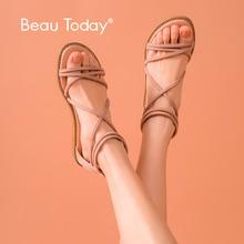 BeauToday kadın sandalet çapraz üzerinde sapanlar süet deri fermuar gladyatör bayanlar yaz düz ayakkabı el yapımı A33008