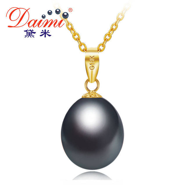 Daimi black pearl 18k yellow gold pendant natural freshwater pearl daimi black pearl 18k yellow gold pendant natural freshwater pearl pendant necklace 45cm gift for women mozeypictures Gallery