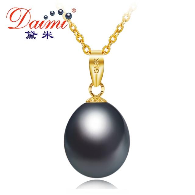 Daimi black pearl 18k yellow gold pendant natural freshwater pearl daimi black pearl 18k yellow gold pendant natural freshwater pearl pendant necklace 45cm gift for women aloadofball Gallery