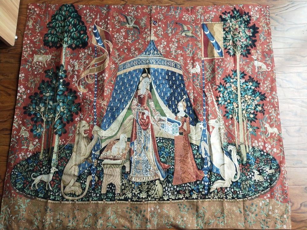 Serie de unicornio noblellady vestido de mujer tamaño grande 165*139cm tela decorativa de jaauard tapiz de pared medieval PT 76 - 4