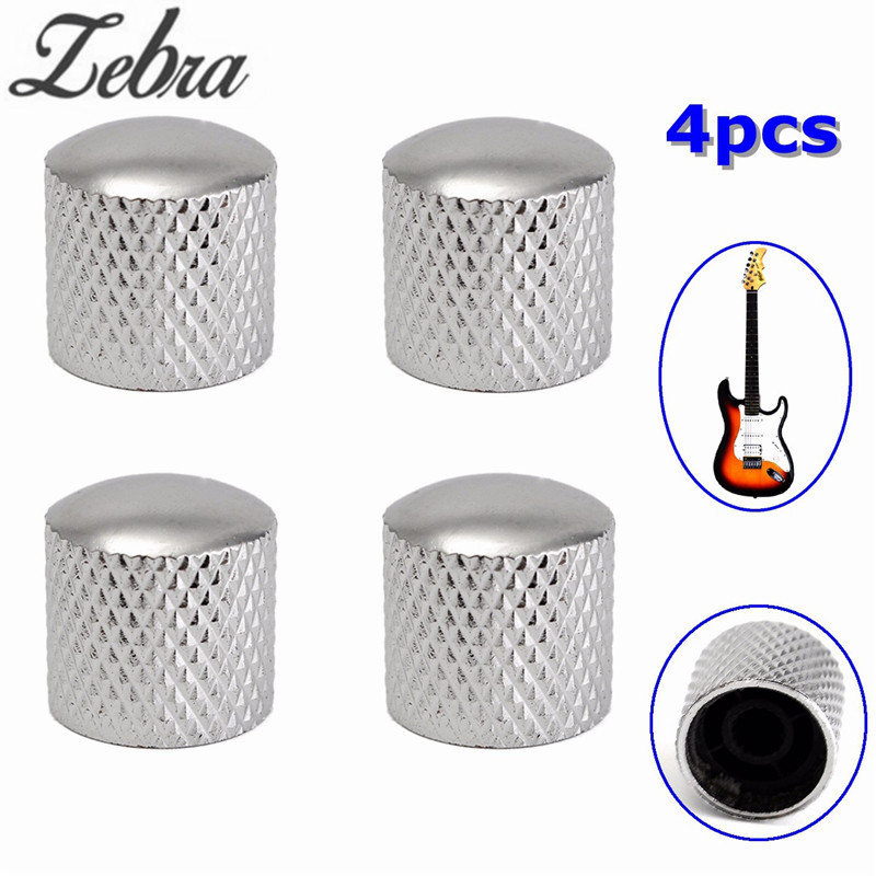 Zebra 4pcs 6mm Kirsite Bass Tunning Dome Tone Volume Control Buttons Electric Guitar Knobs for Tele Guitar Bass Silver Color fables volume 6 homelands