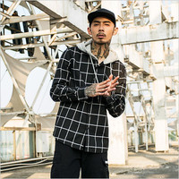 2018 New Sweatshirts Men Plaid Hooded Coat Male Fashion Warm Hoodies Single Breasted Coat Slim Fit