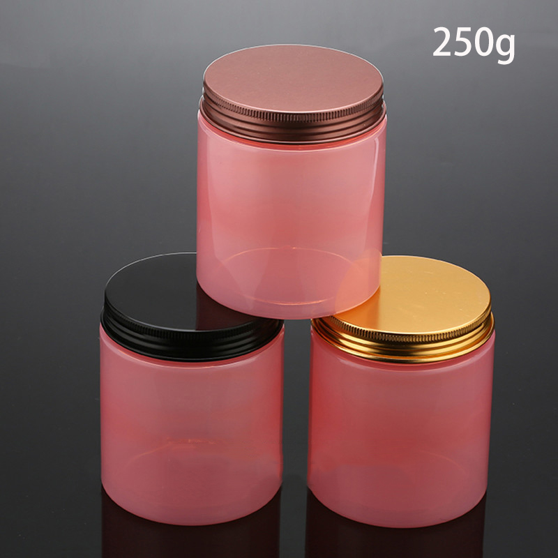 250g Pink Cosmetic Jar Handmade Body Scrub Lotion Cream Container Skincare Candies Cosmetic Packaging Free Shipping