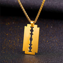 Razor Blade Necklace & Pendant Charm Gift For Father Gold Color 316L Stainless Steel Chain For Men Jewelry P1008