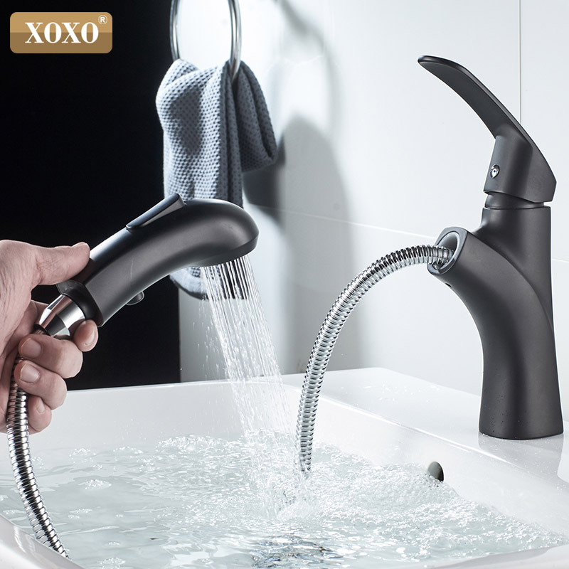 XOXO Basin Faucet Cold and hot Pull Out Brass bathroom Tap Black Single Hole Single Handle Water Mixer Tap Torneira Cozinha 8505-in Basin Faucets from Home Improvement    1