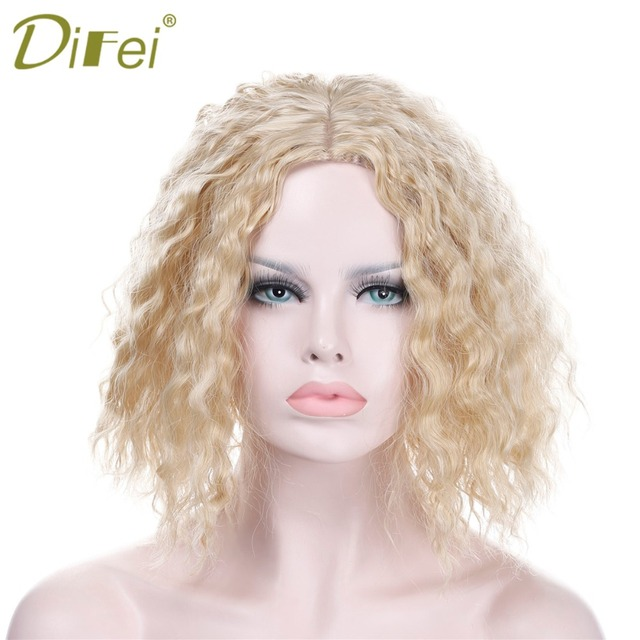 DIFEI Short Blonde Wavy Curly Bob Wigs for Women Medium Part Hair Cheap  Synthetic Wigs for Cosplay Party Wigs c7509b3bf7a4