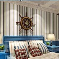 Beibehang papier peint Xanh non-dệt hình nền đơn giản phong cách Địa Trung Hải phòng ngủ phòng khách đầy đủ các sọc hình nền behang