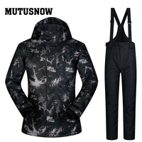 MUTUSNOW 2019 Ski Suit Men Brands New Outdoor Windproof Waterproof Thicken Clothes Male Pants TY Winter skiing Snowboard Jacket