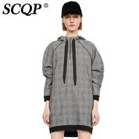 SCQP của Phụ Nữ Kẻ Sọc Màu Xám Hoodie Dress Dài Tay Thời Trang Áo Váy Lady Casual Vintage Dresses Niêm Yết Mới Phụ Nữ Giản D