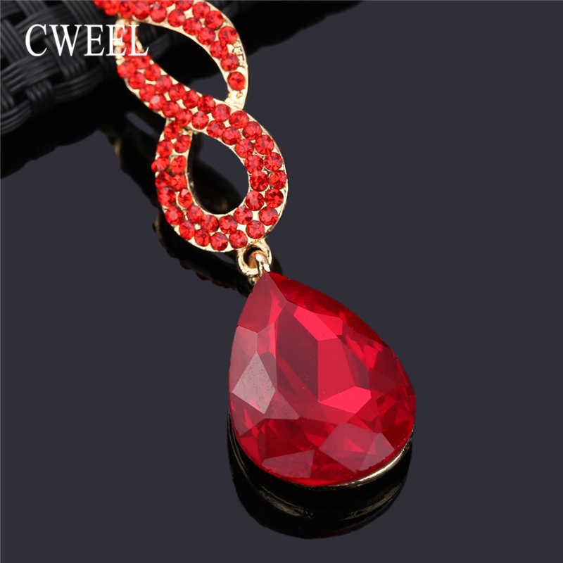 CWEEL Lange Ohrringe Für Frauen Imitation Kristall Ohrring Hochzeit Party Jahrestag Geschenk Tropfen Ohrringe Modeschmuck Brincos