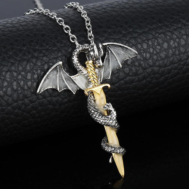Hot Vintage Game of Throne Dragon Sword Punk Luminous Necklace Pendants