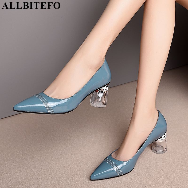 ALLBITEFO crystal heel full genuine leather women high heel shoes high quality party women shoes sexy