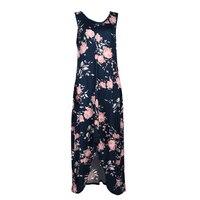 Woman Summer Vintage Retro Dark Blue Floral Print Maxi Dress Loose Vintage A Line Dress Sleeveless