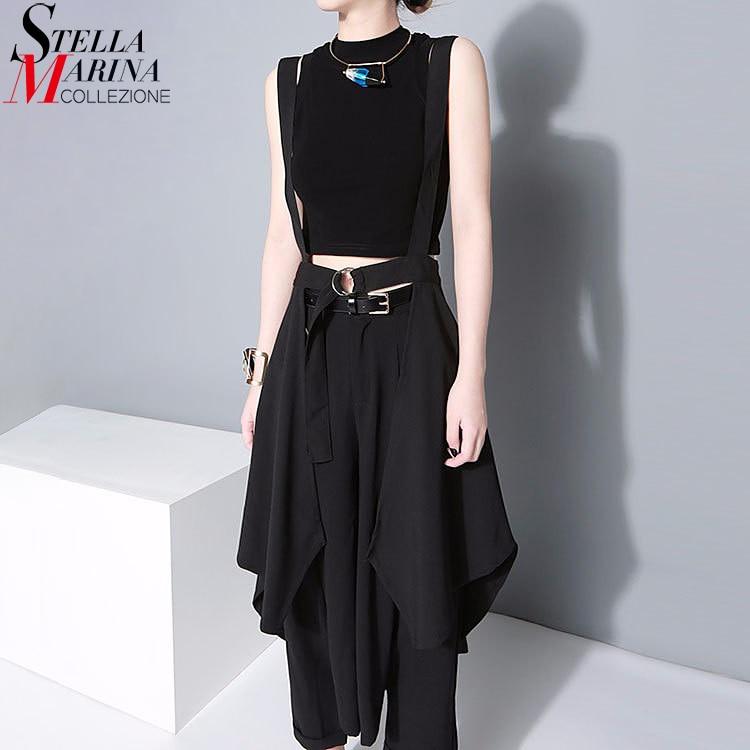 2018 Mujeres de estilo coreano Falda maxi negra Cintura ajustable con cinturón y correas Falda de gasa falda irregular para mujer Sol Femme 1431
