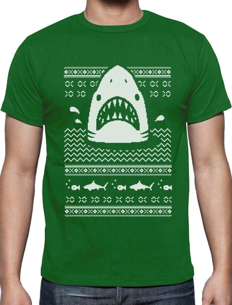Great White Shark Ugly Christmas Sweater T-Shirt Gift Pop Cotton Man Tee ...