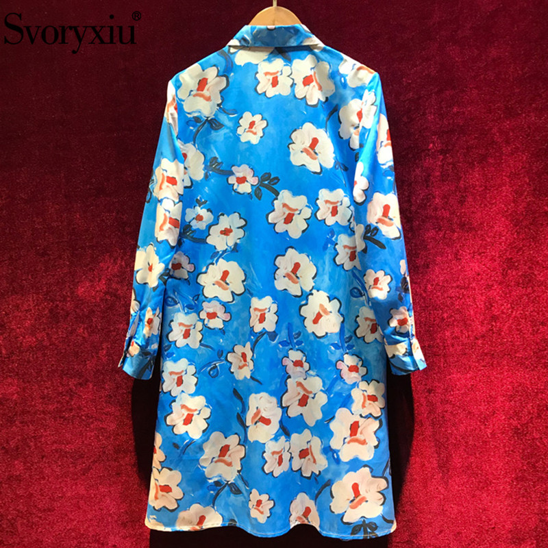 Svoryxiu 우아한 블루 손으로 그린 플로랄 프린트 드레스 여성 긴 소매 느슨한 셔츠 드레스 디자이너 봄 여름 짧은 드레스-에서드레스부터 여성 의류 의  그룹 2