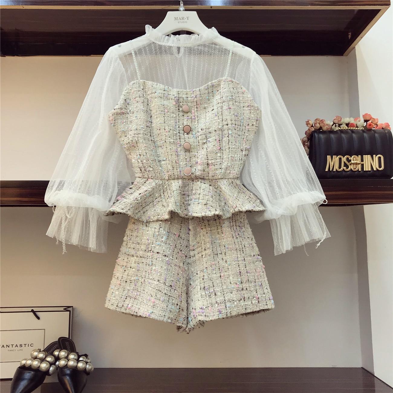 2018 Automne Hiver Petit Parfum Vêtements Ensembles Femmes De Mode Danses Robe Ensemble Dentelle Chemise + sling Tweed Gilet + Shorts 3 pièces