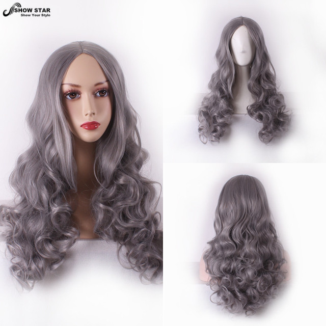Harajuku Sexy Grey Long Wavy Curly Hair Wigs for Women Peluca Gris Larga Middle Part Lolita Cosplay Anime Pelucas Drag Queen