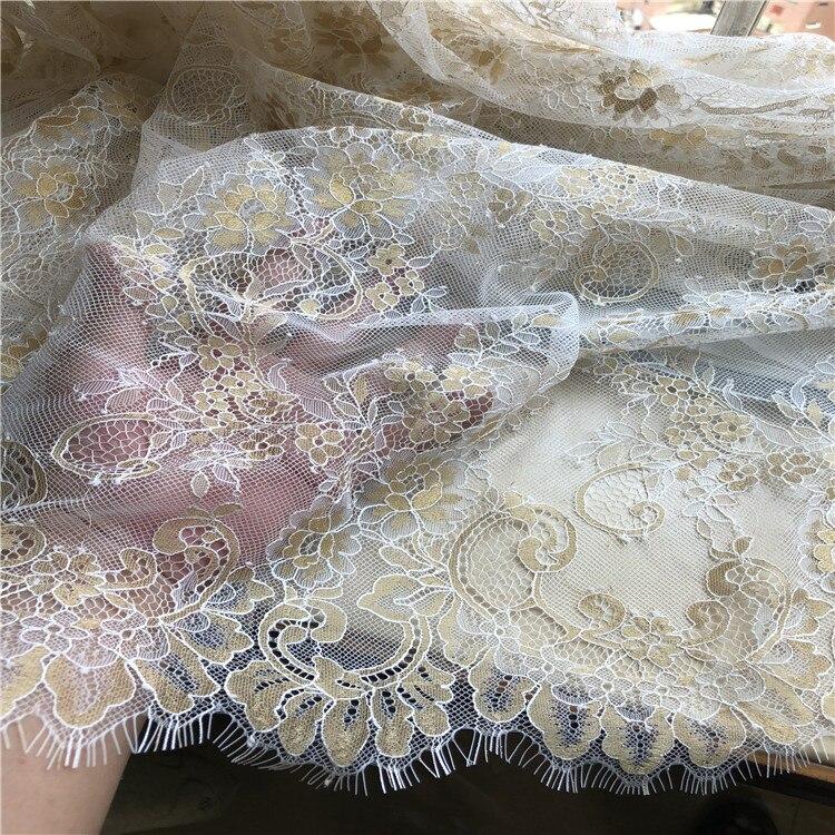 3 meter/partij goud gemengde witte pluizige textuur Franse wimper kant stof trouwjurk pluizige jurk stof