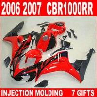 100% phù hợp ép phun đối với HONDA 2006 2007 CBR1000RR đỏ glossy phẳng bộ phận tạo hình đen cbr 1000 rr 06 07 fairing IFJ83