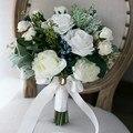 Princesa Blanca flor color de Rosa Artificial Ramo de Novia 2017 Bacca País Decoración de La Boda de La Boda Suministros de Novia Con Broche Bouque