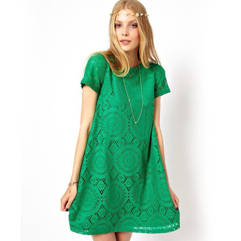 a7f28302bc0d Women s Fashion Loose Casual Dress Green Lace Short Sleeve Black A-Line  dress Plus Size XXXL Robe Femme Red Crochet Dress 4XL