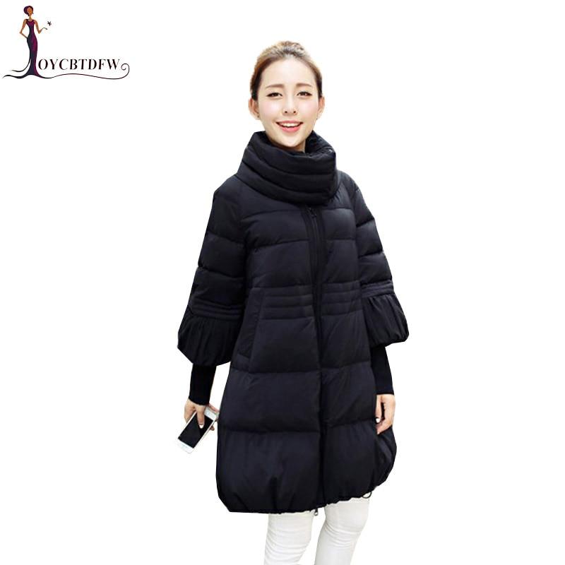 2018 Women Cotton   Parkas   Autumn Winter Fashion Loose Large size M-3XL Outerwear Mid long Thick Warm Female Cotton Jacket Xy547