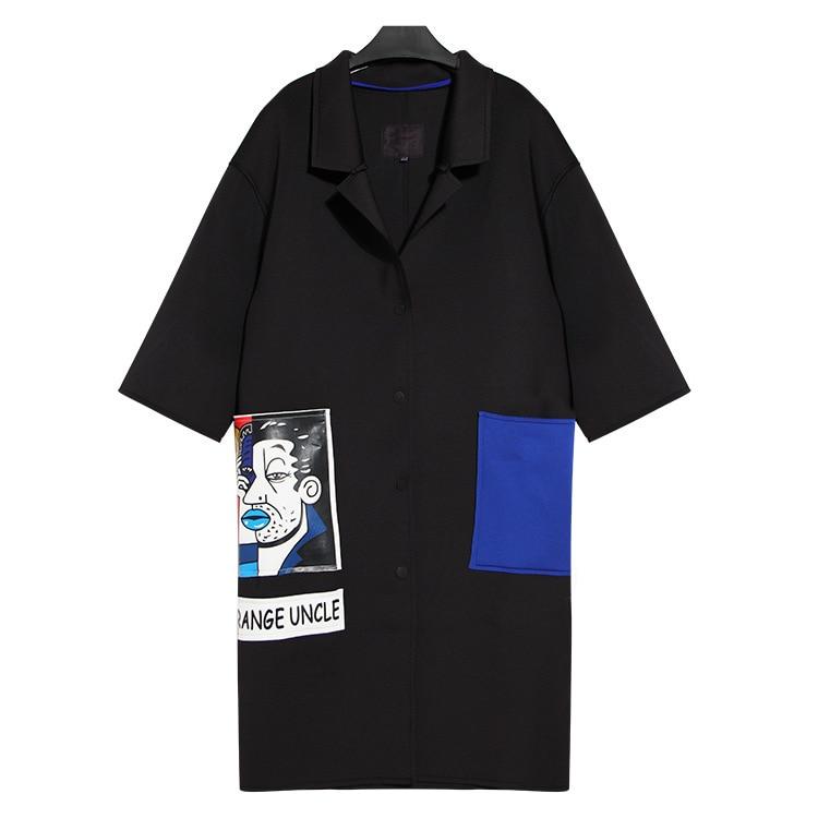 Couleur Manteau Imprimer vent Personnalité twotwinstyle Big Tranchée Coupe Hit Patch Nouveau 2016 Pocket Noir Mince Conception Femmes xqEzwHE07