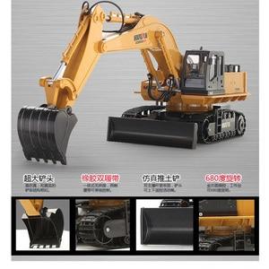 Image 3 - HuiNa אלחוטי שלט רחוק חשמלי סגסוגת חופר דחפור 11 ערוצים 1:16 2.4Ghz ילדי צעצוע רכב מהנדס רכב משאית