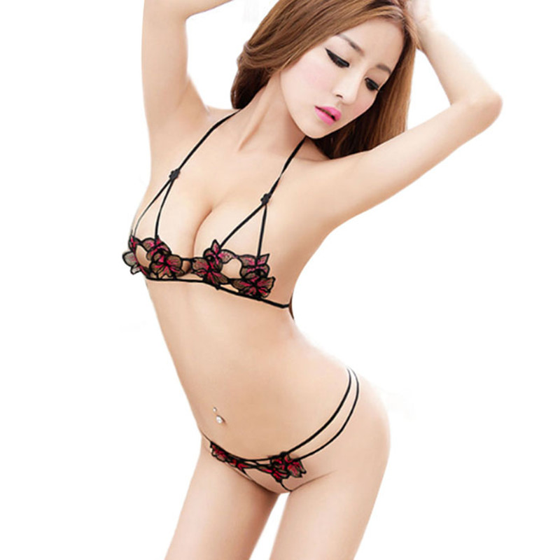 3cd7fe5ad 2017 Hot Womens Erotic Lingerie Sets Sexy Lace Floral Hollow Bra+ ...