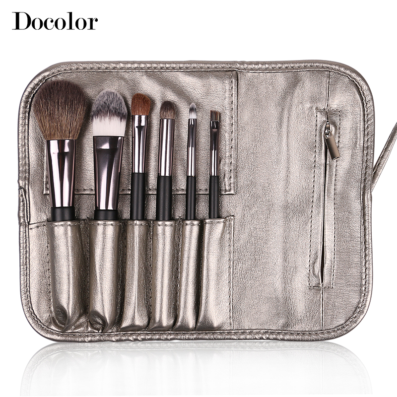 Free shipping Docolor Make up Brushes  6pcs/Set High Quality with leather case  powder foundation eyeshadow eyebrow  lip brushes 5 pieces free shipping ct machine brushes german imports of raw materials with silver graphite 6 6 20mm