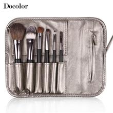Free shipping Docolor Make up Brushes  6pcs/Set High Quality with leather case  powder foundation eyeshadow eyebrow  lip brushes