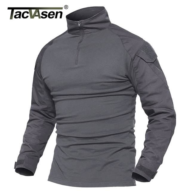 TACVASEN Camouflage T shirts Men Army Combat Tactical T Shirt Male Airsoft Military Clothing Long Sleeve Cotton Assault T Shirts