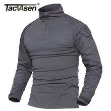 TACVASEN הסוואה חולצות Mens צבא Combat טקטי T חולצה זכר Airsoft צבאי בגדים ארוך שרוול תקיפה חולצות חולצות