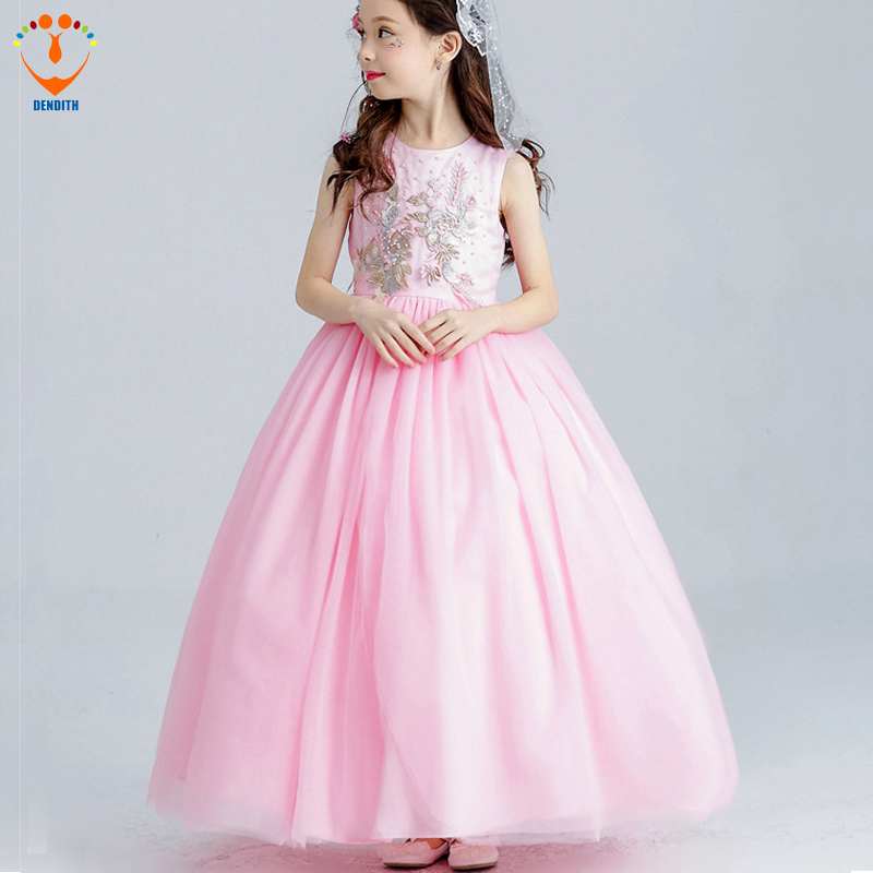 DENDITH 2018 new Girls Ball Gown  lace Dress bow baby girls  flower wedding dress girl long dress pink children clothing 2016 spring new pattern korean children s garment girl baby lace back will bow dress girl jacket