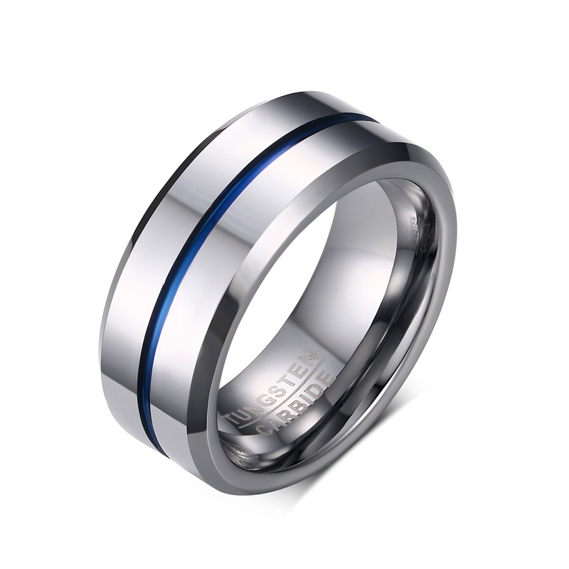 8mm Mens Rings Tungsten Carbide Thin Blue Line Groove Wedding Band