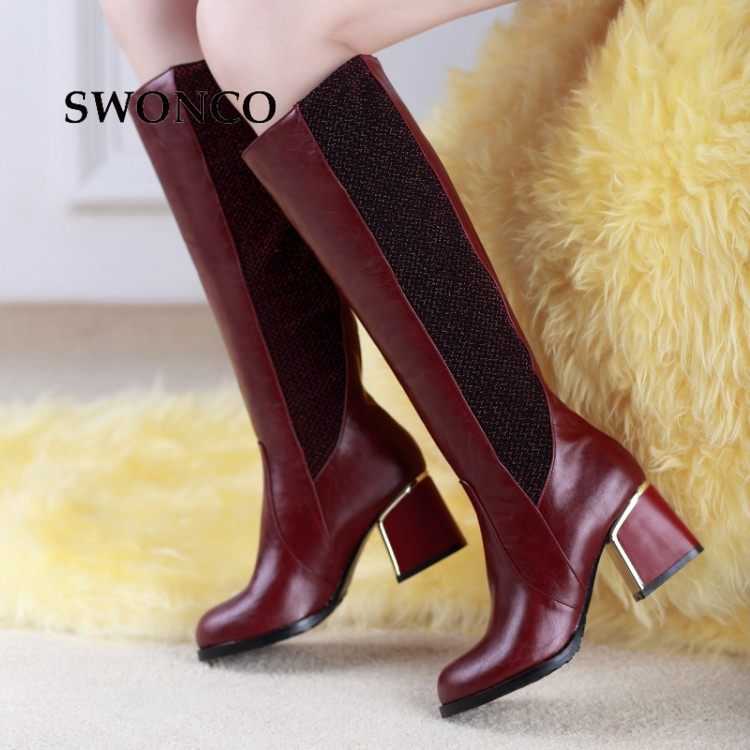 SWONCO Women's Boots 2018 Autumn Winter PU Leather Woman Shoes Boots Women High Heels Round Toe Women Knee-high Boot new women dress shoes knee high boots woman round toe high heels autumn winter long boot hot fashion riding boots big size 35 43