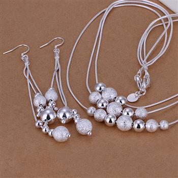 Оптовая продажа комплект ювелирных изделий, более трех-шарик 2 шт. комплект, 925 серебро Цепочки и ожерелья Серьги T003
