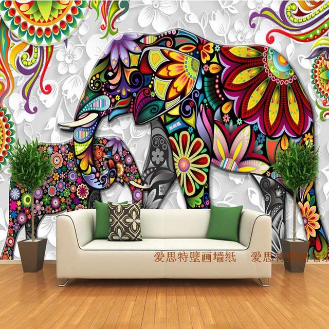 yoga india elephant mural spa backdrop steam living restaurant 3d wall bedroom hotel decorative clothing painting series custom tv wallpapers