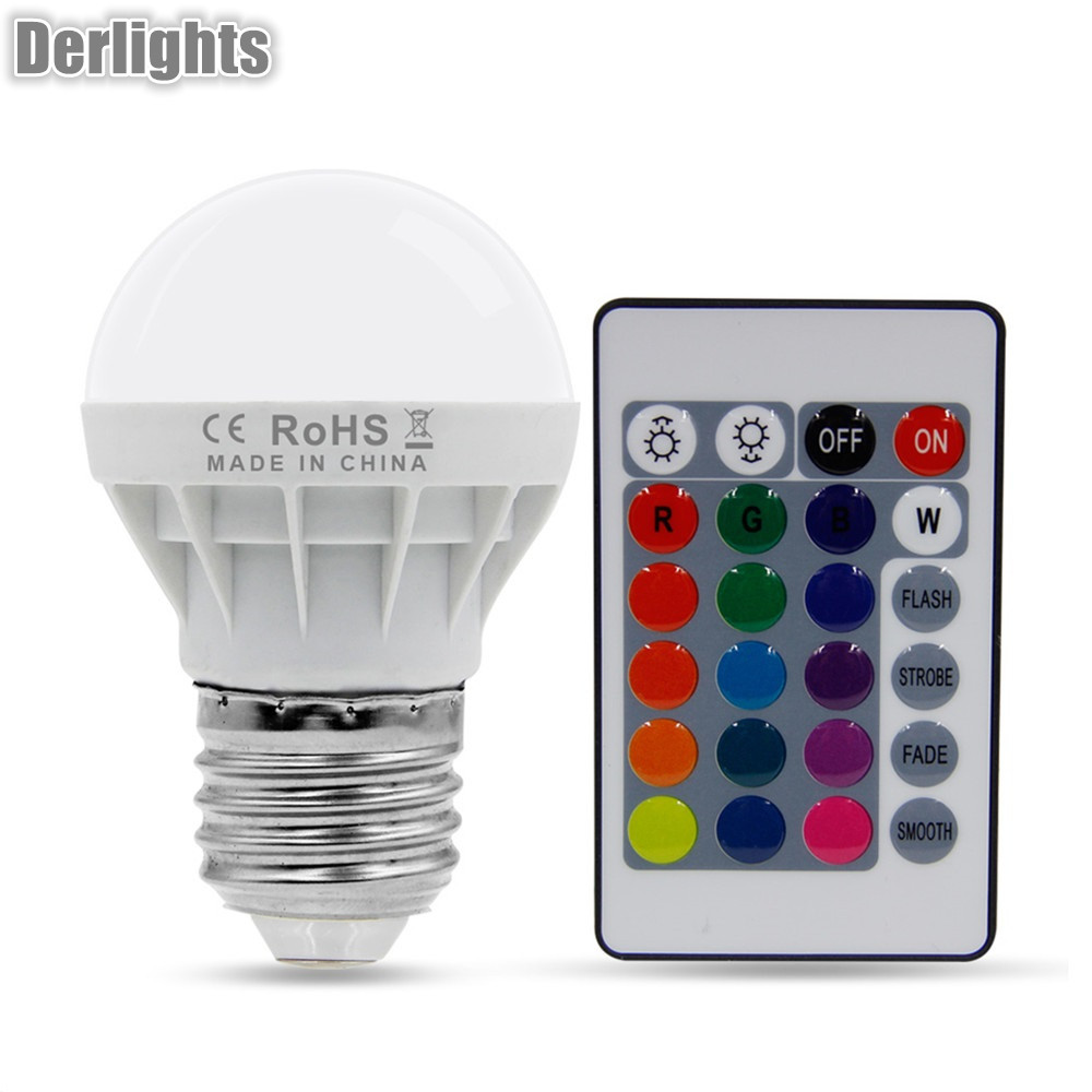 E27 3W 16Color Changing RGB Magic LED Bulb Lamp 85-265V RGB Led Light Spotlight + IR Remote Control led rgb globe bulb e27 e14 3w ac 85 265v 16 colors changing magic light 24key ir remote control home night lighting led bulb
