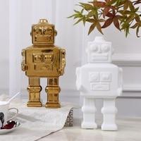 European type simple gold ceramic robot handicraft ornaments children's model house modern decoration