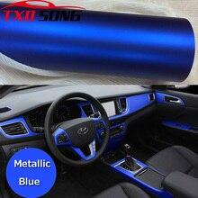 50CM * 200CM/הרבה כחול מתכתי לעטוף לעטוף מכונית כרום מט ויניל סרט כחול מאט סרט גלישת רכב מדבקת רדיד