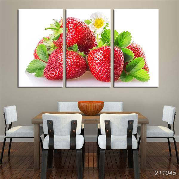 Online shop 3 stück leinwand wandkunst gedruckt red süße erdbeeren ...