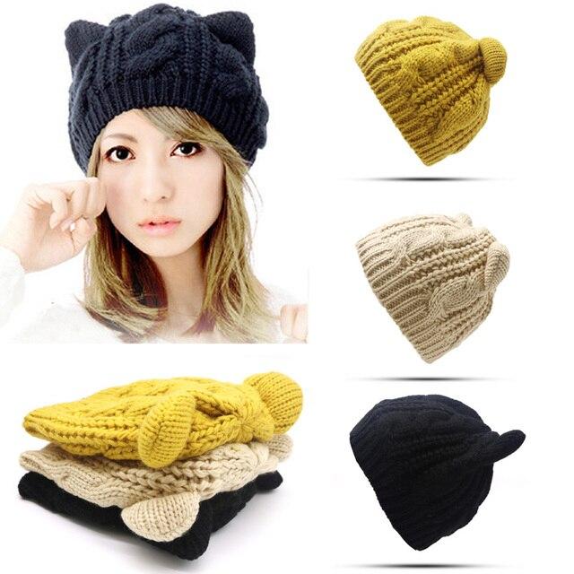 c23723731b0 Winter Caps Hats For Women Girl Hat Protect Ear Cute Crochet Braided Knit  Beanies Hat Warm Female Unisex Cotton Blends Cap Hat