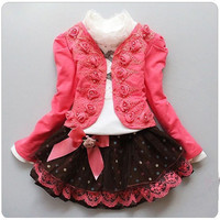 2017 Girls Clothing Sets Elsa Costume Kids Toddlers Long Sleeve Blouse Skirt Coat 3 Pieces Baby